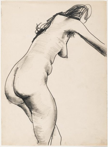 An image of Female nude, standing and leaning by Albert Tucker