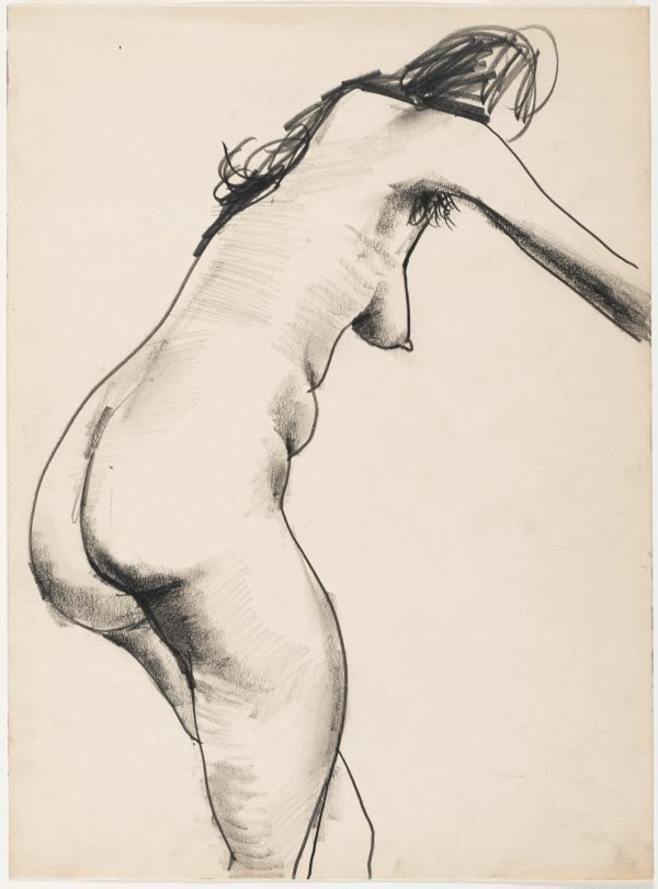 An image of Female nude, standing and leaning