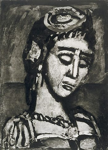 An image of Head and bust of a woman, facing to the right by Georges Henri Rouault