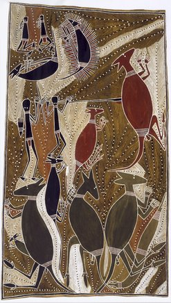 An image of Garrtjambal - kangaroo by George Milpurrurru