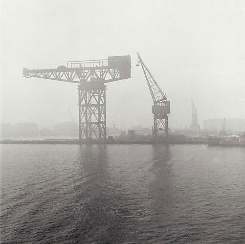 An image of Cranes in fog, Garden Island