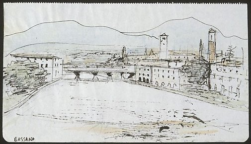 An image of Bridge over the Brenta, Bassano by Lloyd Rees