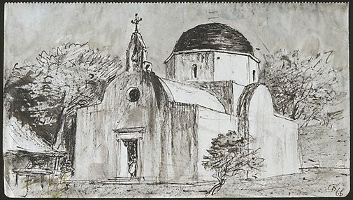 An image of Church, Mýkonos by Lloyd Rees