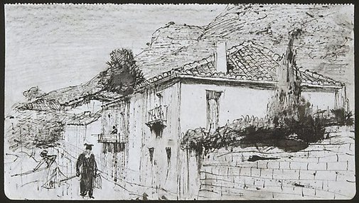 An image of Street in Delphi by Lloyd Rees