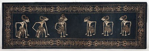 An image of Cloth with design of wayang figures by