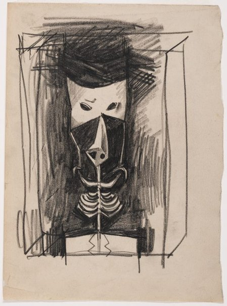 An image of Self portrait as a mask by Albert Tucker