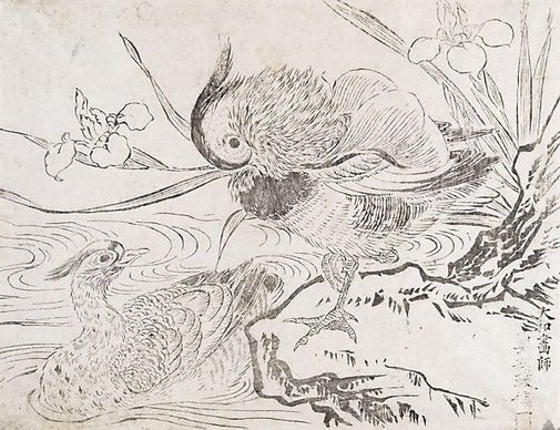 An image of Mandarin ducks by Okumura MASANOBU
