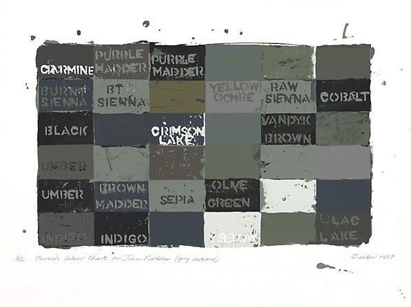 An image of Turner's colour chart for John Ruskin (Grey version)
