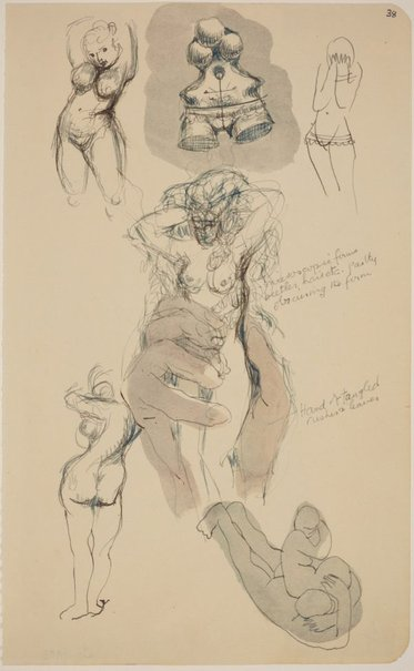 An image of Five pages from a sketchbook (Female figure studies) by James Gleeson
