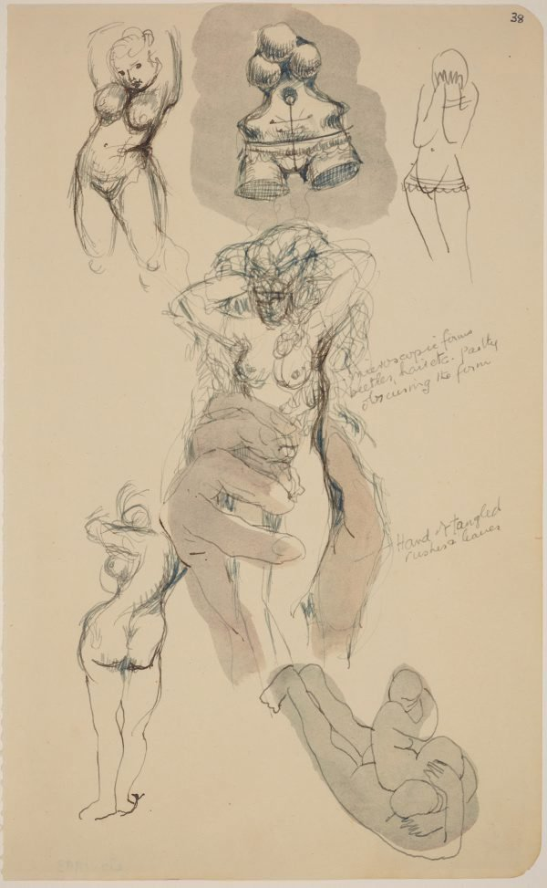 An image of Five pages from a sketchbook (Female figure studies)