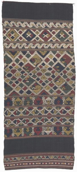 An image of Decorative end piece of a 'phaa biang' (ceremonial scarf) with banded design of stylised birds and animals by