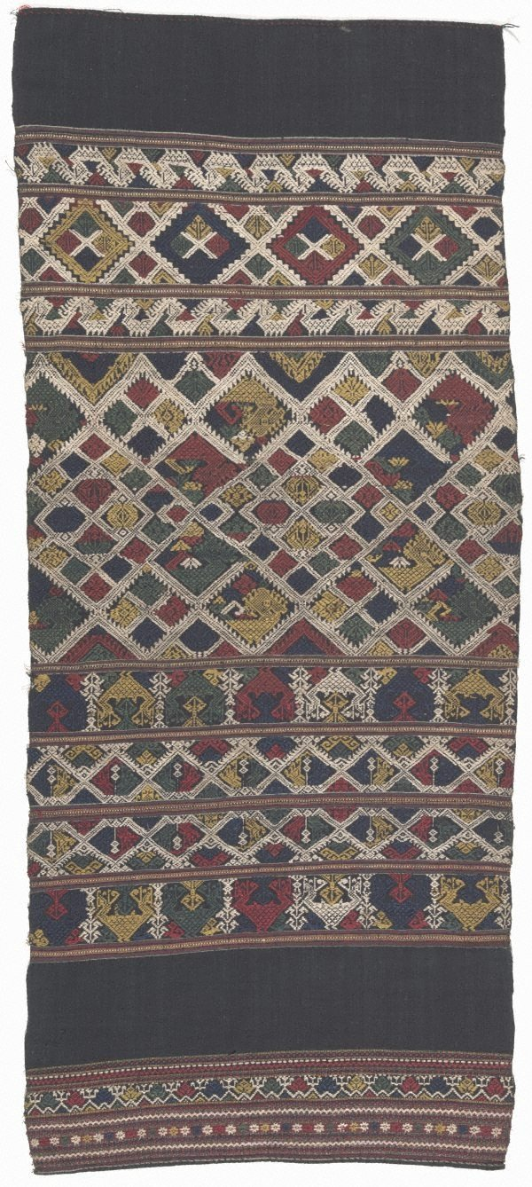 An image of Decorative end piece of a 'phaa biang' (ceremonial scarf) with banded design of stylised birds and animals