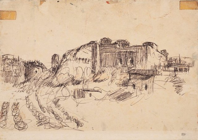 An image of Study for 'The ramparts, San Gimignano'