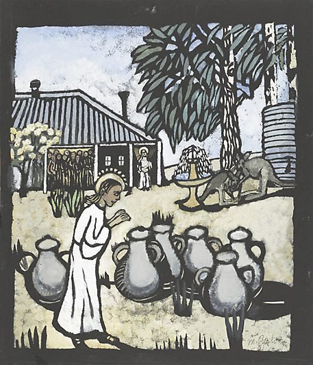 An image of Christ turning the water into wine by Margaret Preston