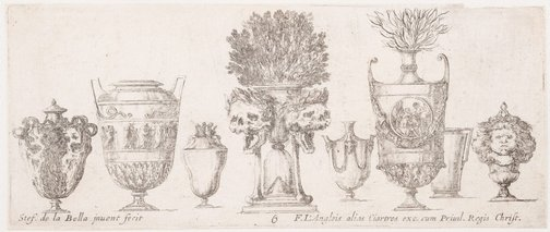 An image of Eight vases by Stefano della Bella