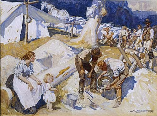 An image of Gold prospectors by George W Lambert
