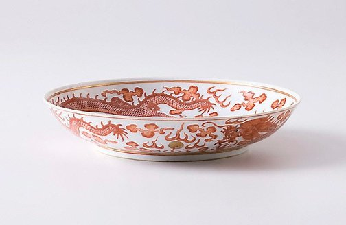 An image of Dish with dragon design by