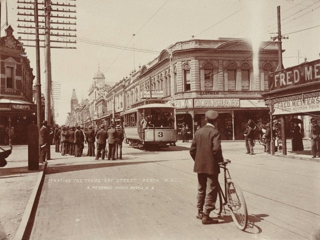 An image of Starting the trams Hay Street, Perth