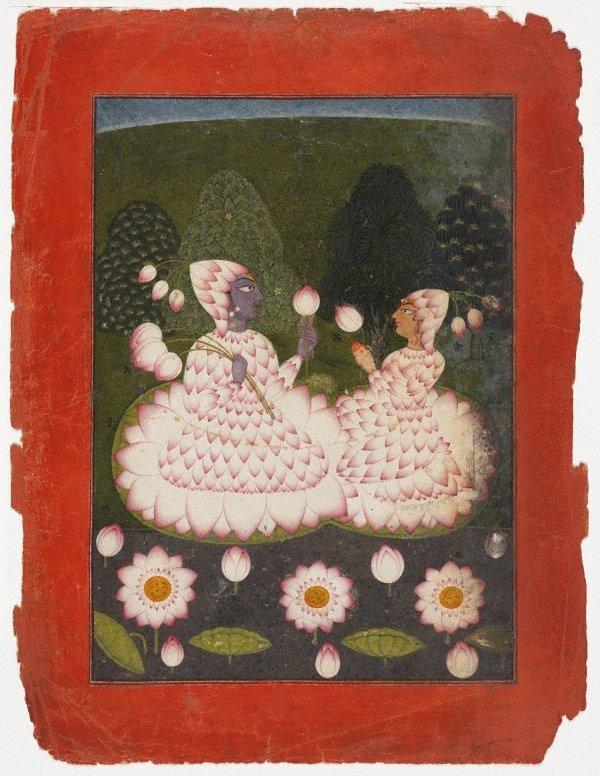 An image of Lotus-clad Radha and Krishna