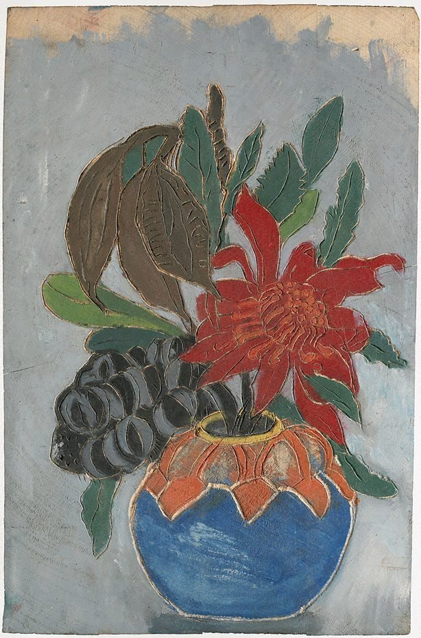 An image of recto: Woodblock for 'Banksia, Kurrajong pods, waratah in round vase' verso: Woodblock for 'Waratah round vase'