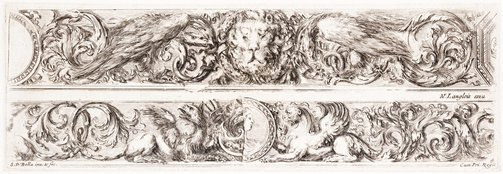 An image of Two friezes: With lions masks and eagles, and with griffins by Stefano della Bella