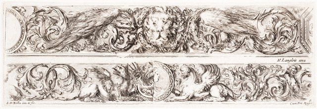 An image of Two friezes: With lions masks and eagles, and with griffins