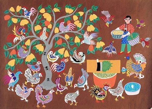 An image of Hens and pear tree by Li Xiufang