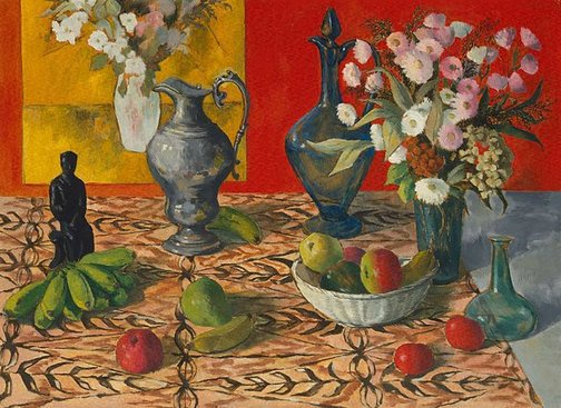 An image of (Still life with fruit, flowers, ewers and statue) by Justin O'Brien