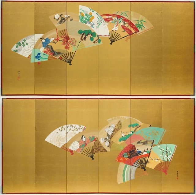 An image of Designs of birds, flowers and figures on fans