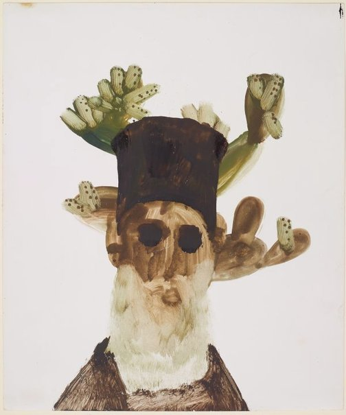 An image of Untitled (Bishop and cactus) by Sidney Nolan