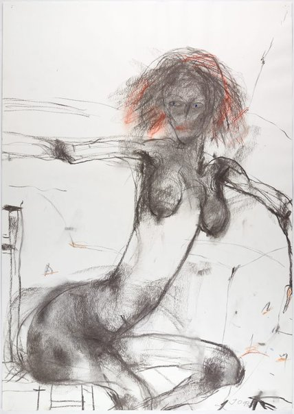 An image of Seated female nude, arms outstretched by John Olsen