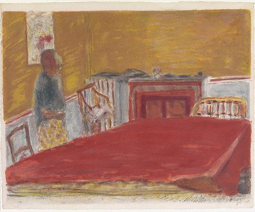 An image of The red cloth by Pierre Bonnard