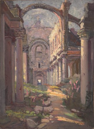 AGNSW collection Evelyn Chapman (Interior of a ruined church, France) circa 1919