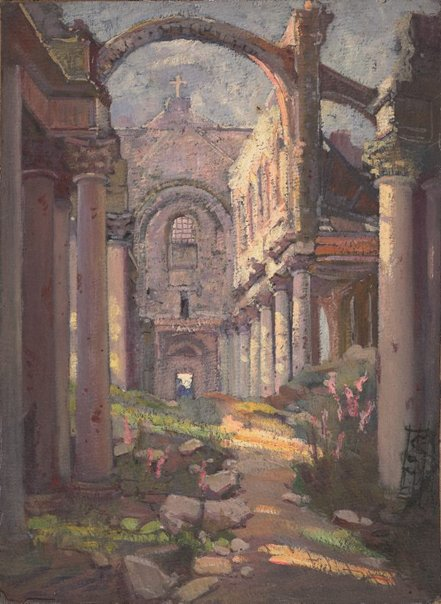 An image of (Interior of a ruined church, France) by Evelyn Chapman