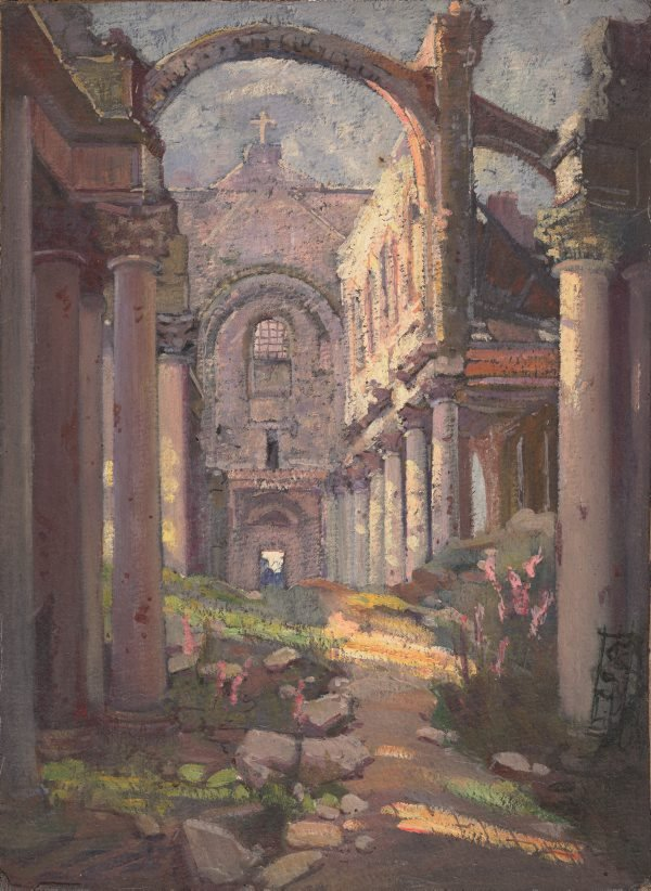 (Interior of a ruined church, France), (circa 1919) by Evelyn Chapman