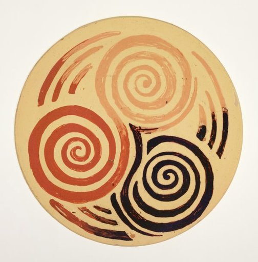 An image of Plate with spirals by Anne Dangar