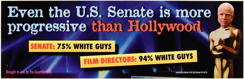 An image of Even the U.S. Senate is more progressive than Hollywood update by Guerrilla Girls