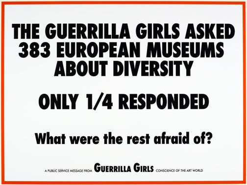 An image of The Guerrilla Girls asked 383 European museums about diversity by Guerrilla Girls