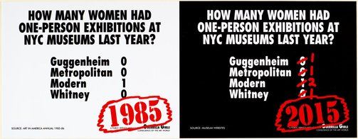 An image of How many women had one-person exhibitions at MFC-Michele Didier? by Guerrilla Girls