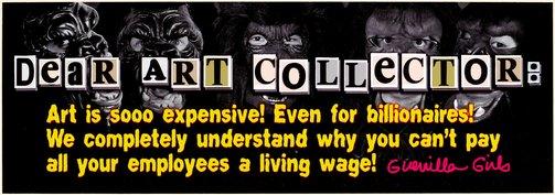 An image of Dear Art Collector Billionaire by Guerrilla Girls