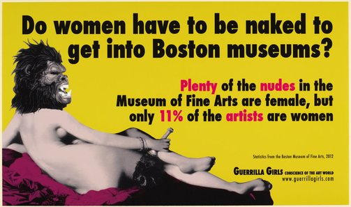 An image of Do women have to be naked to get into Boston museums? by Guerrilla Girls