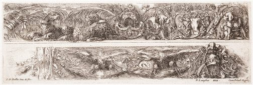 An image of Two friezes: With leopards and dogs, and with eagles by Stefano della Bella
