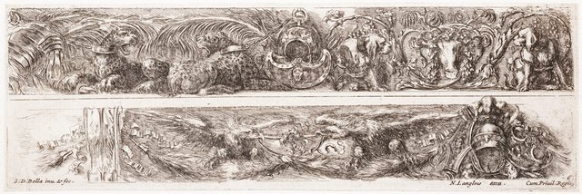 An image of Two friezes: With leopards and dogs, and with eagles