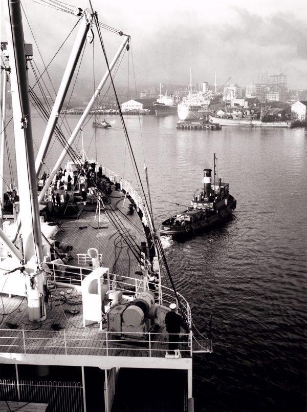 An image of 'Himalaya' approaching Pyrmont dock