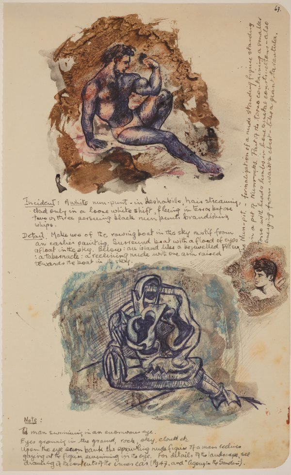 An image of Five pages from sketchbook (Study of a seated male)