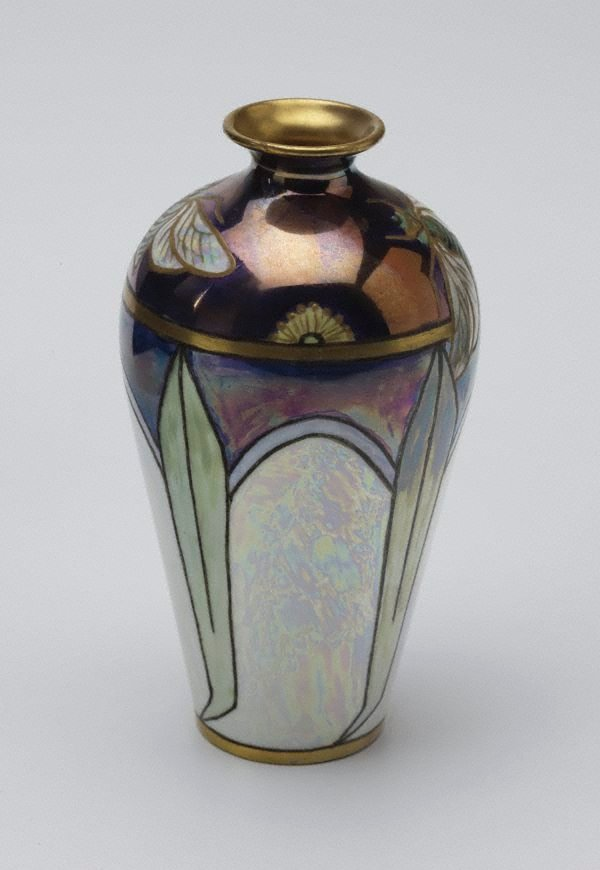 An image of Vase with cicada and eucalyptus leaf design