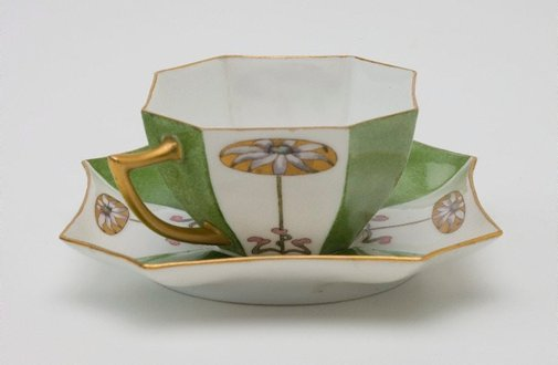 An image of Cup and saucer with flannel flower design by Ethel Atkinson