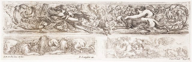 An image of Three friezes; hunting subjects