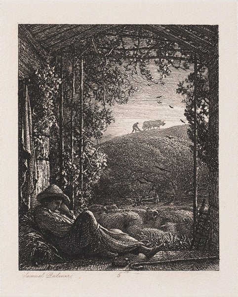 An image of The sleeping shepherd by Samuel Palmer