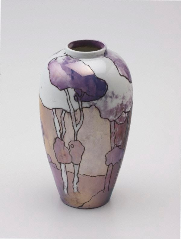 An image of Vase with landscape and tree design